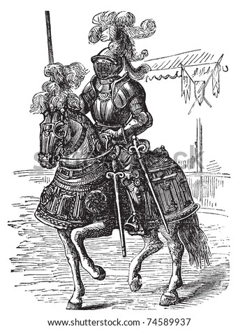 Ironclad full bodied armored horse and rider old engraving. Old engraved illustration of a medieval knight on his horse, in full armor. - stock vector