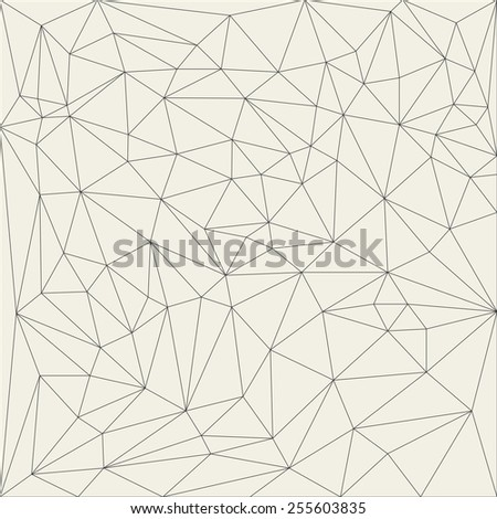 Irregular abstract linear grid triangle. Reticulated monochrome texture pattern. Vector illustration - stock vector