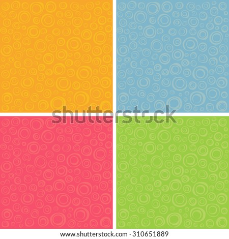 irregular concentric circles pattern set in different colors - stock vector