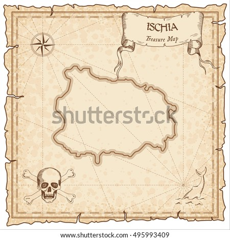 Ischia old pirate map. Sepia engraved parchment template of treasure island. Stylized manuscript on vintage paper.