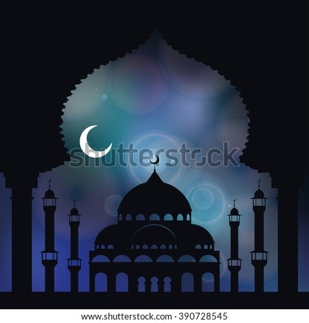 Islam,arabic,muslim background in arch.Vector Celebration card for Eid Ul Adha festival,Ramadan Kareem,holiday template.Mosque,minaret,moon,hight sky.Vintage Illustration.Blue