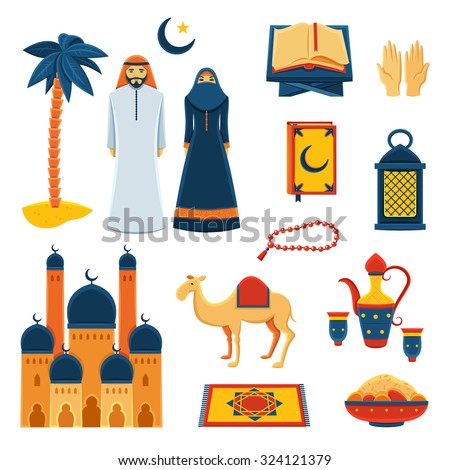 Islam religious rituals flat icons collection with koran prayer beads and traditional clothes abstract isolated vector illustration - stock vector