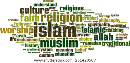Islam word cloud concept. Vector illustration - stock vector