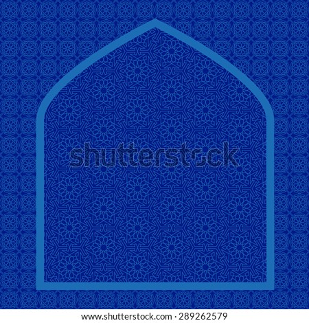 Islamic card with net pattern on blue background