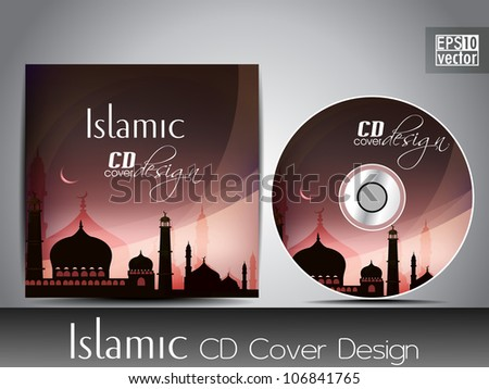 Islamic CD cover design with Mosque or Masjid silhouette with wave and grunge effects in green color. EPS 10, vector illustration. - stock vector