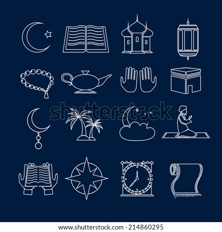 Islamic church muslim arabic holy religious traditional symbols outline icons set isolated vector illustration - stock vector