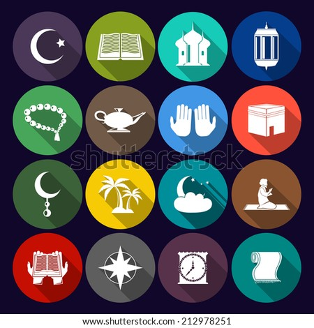 Islamic church muslim arabic spiritual traditional symbols flat icons set isolated vector illustration - stock vector