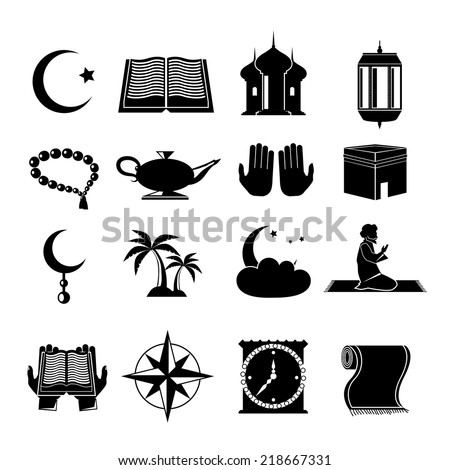 Islamic church muslim spiritual traditional symbols black icons set isolated vector illustration - stock vector