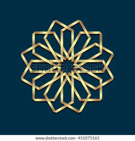 Islamic 3d golden origami round ornament. Arabic style design. Floral Oriental symbols.Vector illustration