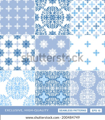 Islamic damask backgrounds blue set, beautiful ornamentation, fashioned seamless patterns, vector wallpapers, floral wrapping papers, swatch fabrics for decoration and design  - stock vector