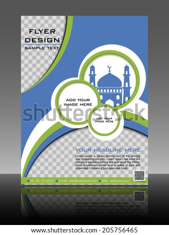 Islamic flyer or brochure and cover design with Mosque or Masjid. EPS 10, vector illustration. - stock vector