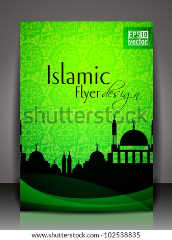 Islamic flyer or brochure and cover design with Mosque or Masjid silhouette with wave and floral effects in green color. EPS 10, vector illustration. - stock vector