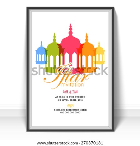 Islamic holy month prayers ramadan kareem stock vector 270370181 islamic holy month of prayers ramadan kareem celebrations invitation card design for iftar party with stopboris Image collections