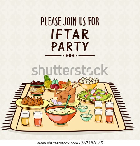 Islamic holy month of prayers, Ramadan Kareem celebrations with invitation card design for Iftar Party,  - stock vector