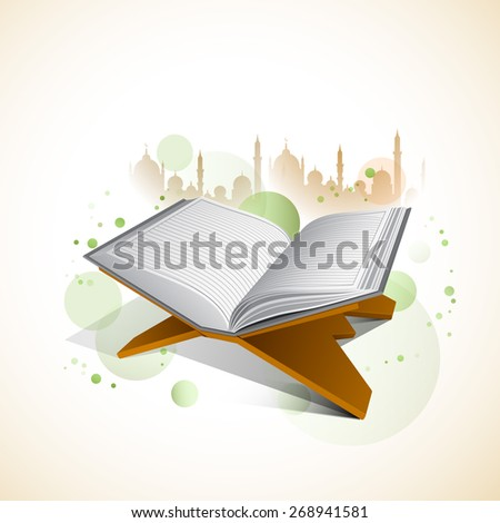 Islamic holy month of prayers, Ramadan Kareem celebrations with open islamic religious book Quran Shareef on colourful mosque background.  - stock vector
