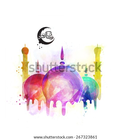 Islamic mosque with colorful splash and arabic calligraphy text Ramazan Kareem (Ramadan Kareem) for holy month of muslim community festival celebration. - stock vector