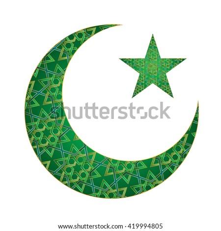 Vector Illustration Islamic Symbol Crescent Star Stock ...