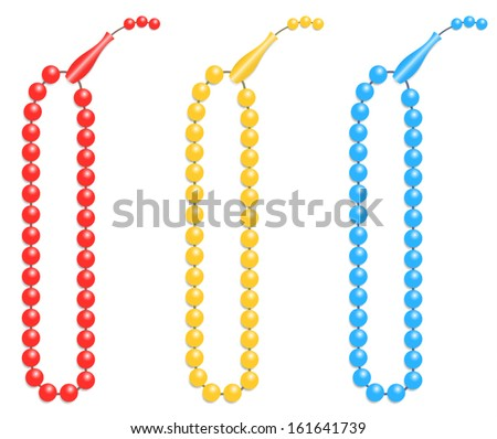 Islamic prayer beads illustrated as a vector design isolated on white - stock vector