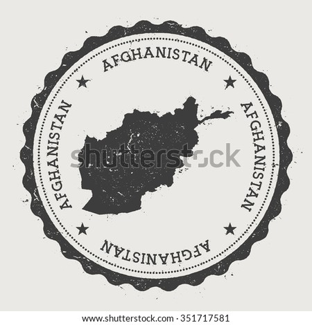 Islamic State of Afghanistan. Hipster round rubber stamp with Afghanistan map. Vintage passport stamp with circular text and stars, vector illustration - stock vector