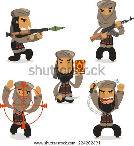 Islamic terrorist with Islamic terrorist with machine gun  vector illustration. - stock vector