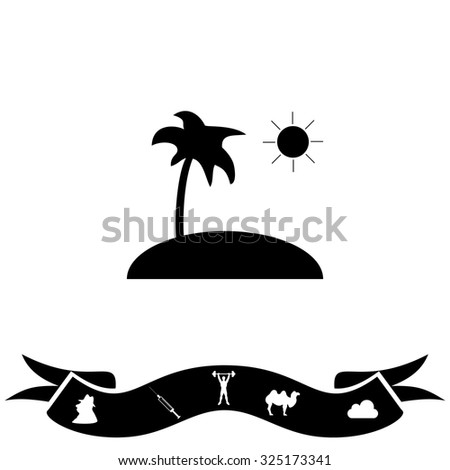 Island and palm. Black flat icon and bonus pictogram with ribbon. Vector illustration symbol