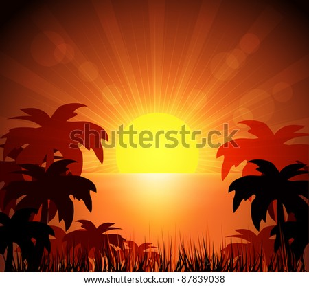 Island and sunrise - stock vector