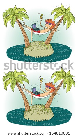 Island Differences Visual Game. Task: find 10 differences! Solution in hidden layer (vector file only). Illustration is in eps8 vector mode! - stock vector