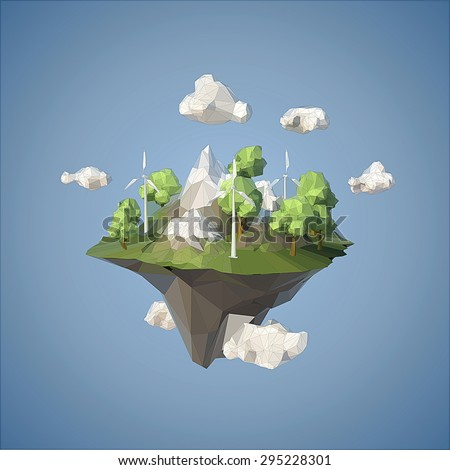 Island floating in the sky with wind turbine and trees, low poly style. - stock vector