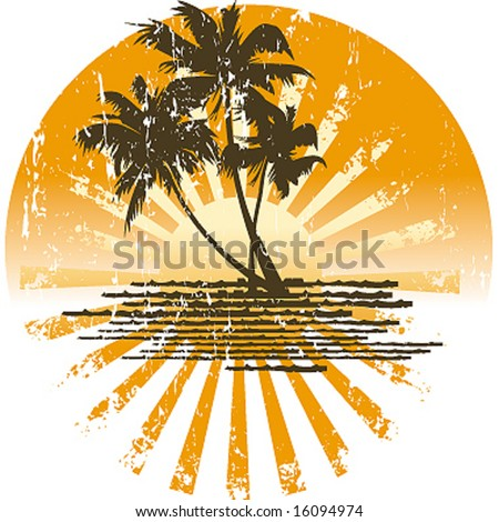 island grunge sunset - stock vector