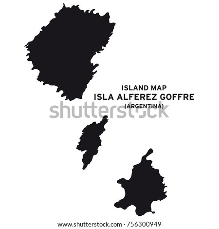 Island map of Isla Alferez Goffre, Argentina, South America