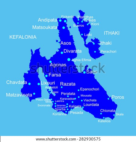 Island of Cephalonia in Greece vector map silhouette illustration isolated on blue background. Ithaki, Ithaca island near the Kefalonia. - stock vector