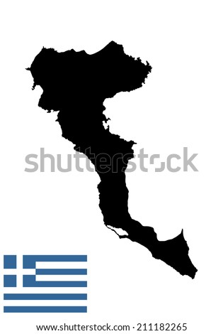 Island of Corfu in Greece vector map high detailed silhouette illustration isolated on white background. - stock vector