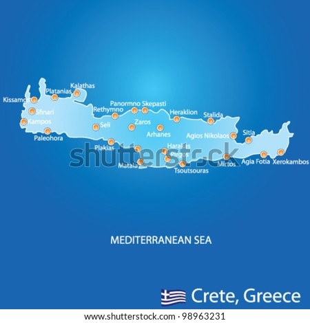Island of Crete in Greece map on blue background - stock vector