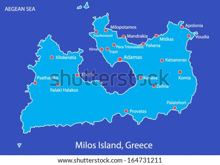 Island Milos Greece Map On Blue Stock Vector HD Royalty Free