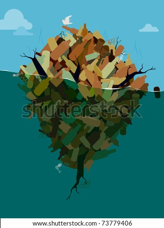 Island of Pollution - stock vector