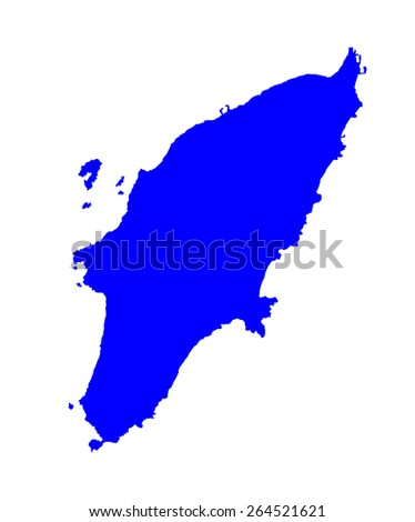 Island of Rhodes in Greece map, vector map isolated on white background. High detailed silhouette illustration - stock vector