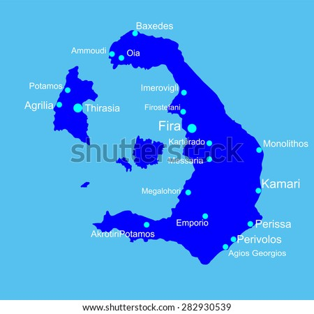 Island of Santorini in Greece vector map isolated on blue background. - stock vector