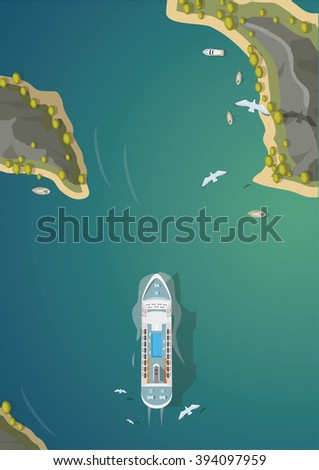 Island resorts and cruise ship top view - stock vector