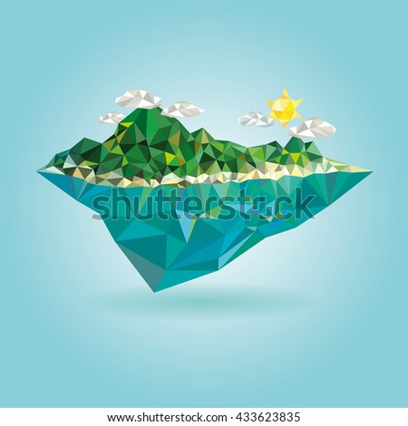 Island with mountain vector low poly style illustration - stock vector