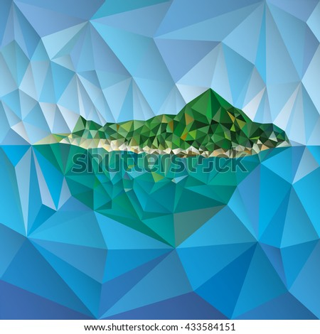 Island with mountain vector low poly style illustration vector - stock vector