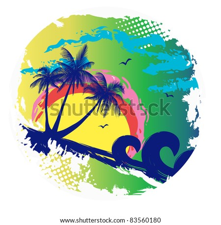 island with palms - stock vector