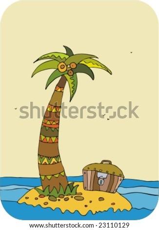 Island with treasures at ocean - stock vector