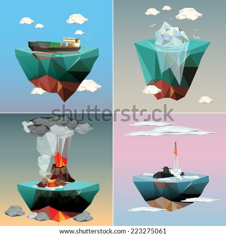 Islands in the sky. Sea ecology and nature. Set of Illustrations. - stock vector