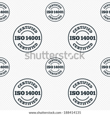 ISO 14001 certified sign icon. Certification stamp. Seamless grid lines texture. Cells repeating pattern. White texture background. Vector - stock vector