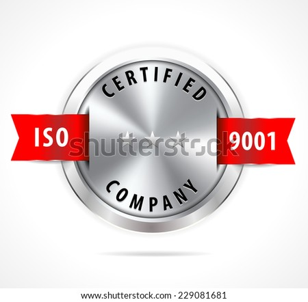 ISO 9001 certified, silver badge with red ribbon - vector eps10