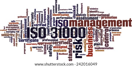 ISO 31000 word cloud concept. Vector illustration - stock vector