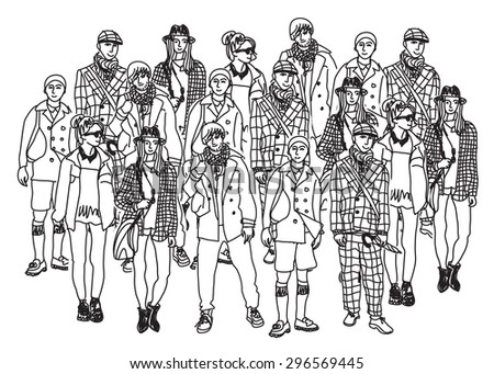 Isolate group young fashion people monochrome. Big group of happy people isolated. Black and white vector illustration. - stock vector