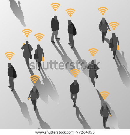 Isolate of people in wireless land - stock vector