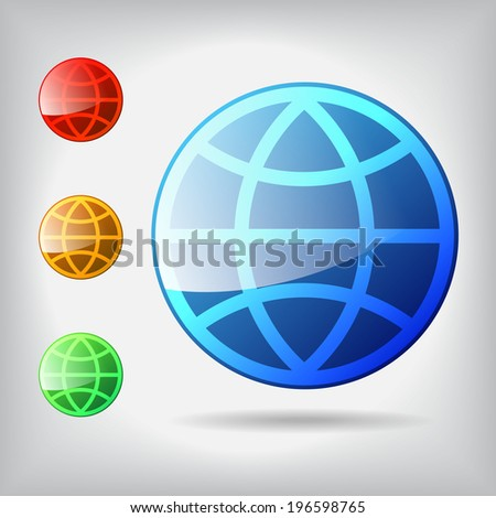 isolate shiny world icon, vector graphic