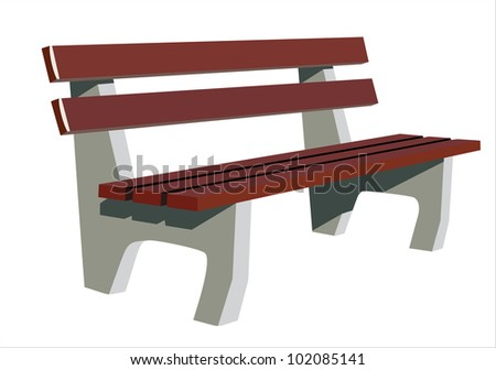 Isolate wooden bench - stock vector